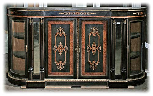 French Ebony Veneered and Inlaid Sideboard